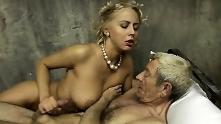 Good-sized boobs and young pussy for lucky elder man