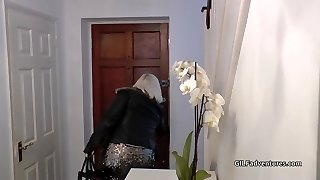 Blond Grandma gets assfucked by young black dude