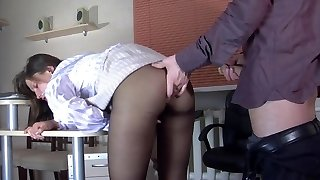 ripped pantyhose in the office