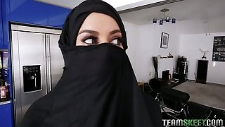 Torrid Arab honey in hijab Victoria June gets her cooter banged in hot Point Of View clip