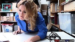MILF LP officer penetrates a masculine shoplifter in her back office