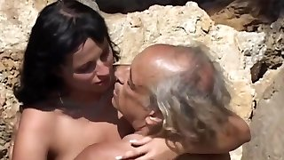 Dirty brunette rimming and sucking overaged aged cock