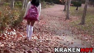 Hidden Cam video with young provocative schoolgirl outdoor