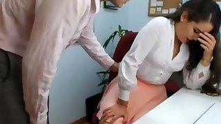 hot brunette secretary playing in office 1