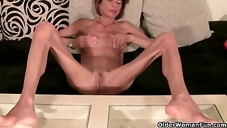 Highly skinny granny unclothes off and masturbates (compilation)