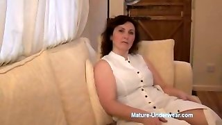 Big-titted mature milf panty tease and striptease