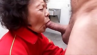 Granny loves deep-throating rod and swallowing cum