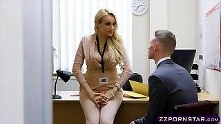 Sexy chesty educator fucked hard in her office