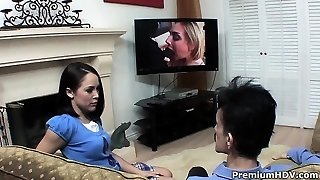 Premium stunner Kristina Rose porking with ugly guy and eating