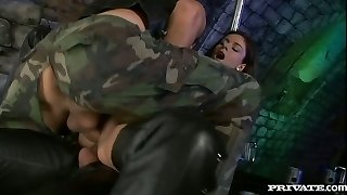 Horny black-haired bitch Lucy Lee gets a DP in MMF threesome