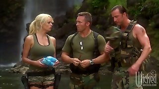 Two soldiers bang splendid milf Stormy Daniels in the tent