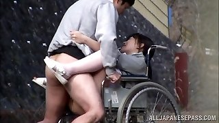 Wild Japanese nurse deep-throats cock in front of a voyeur