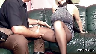 Unshaved German MILF in Nylon get Hard Fuck and Jism On