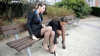 2 young wondrous  secretaries in vintage stockings & garterbelt