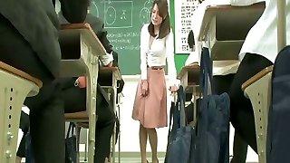 Remote vibrator under schoolteacher skirt