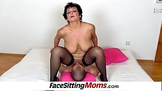 Big jugs lady Greta old young facesitting and cooter eating