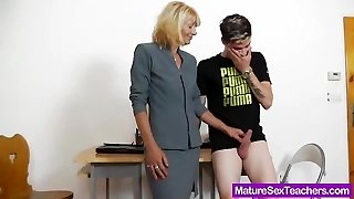Mommy teacher playing plus a penis