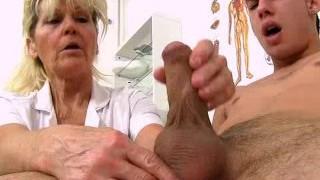 Cfnm handjob at sperm clinic with steamy legs grandma Hana