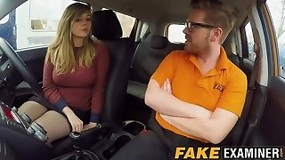 Curvy UK skank Madison Stuart banged at driving college car