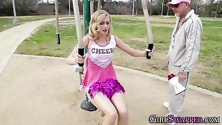 Bony teen cheerleader