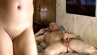 Ugly blowlerina Gulia gets humped doggy on the messy bunk bed