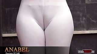 Big-bootied girl plays with her yam-sized cameltoe