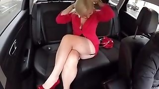 In the Camper with Malene in FF stocking mini skirt High Stilettos