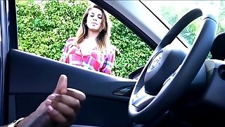 Bombshell Can't Stop Watching Ebony Man Stroking In Car