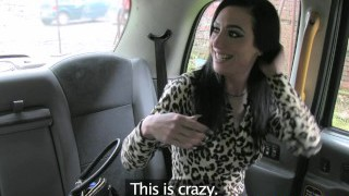 FakeTaxi Lady with xxl tits and cock-squeezing black stockings