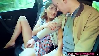 Scorching blondie milf Angel joins the backseat fun with Jimena