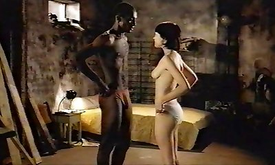 Brunette white woman with black lover - Softcore Interracial