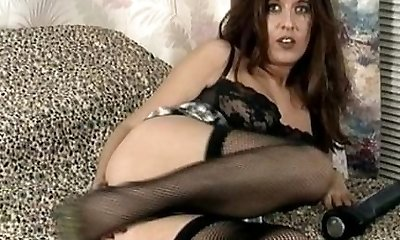 Vintage Milf in black underwear and stockings