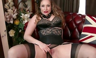 Congenital big tits brunette Sophia Delane unwraps to nylons heels and milks