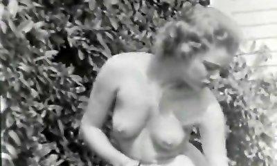 Naturist Girl Perceives Good Naked in Garden (1950s Vintage)