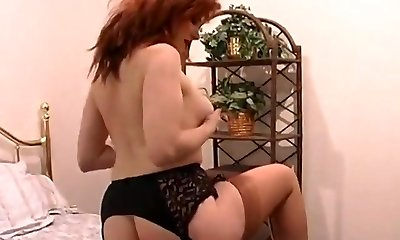 Busty Ginger-haired In Retro Lingerie Using Plaything