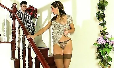 Hardcore Brunette Teen In Stockings