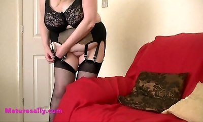 Hot Grandmother in retro garter and pantyhose