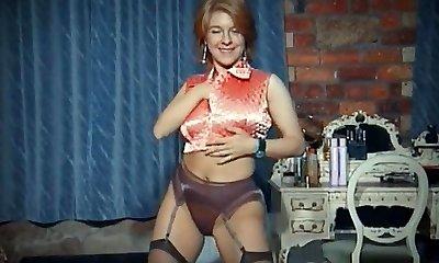 QUEER - vintage big jugs undress dance tease in stockings