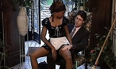 Sexy black maid gets her uber-cute tight twat pleased