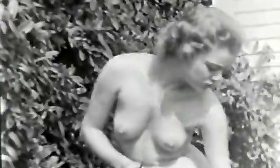 Nudist Gal Senses Good Naked in Garden (1950s Vintage)