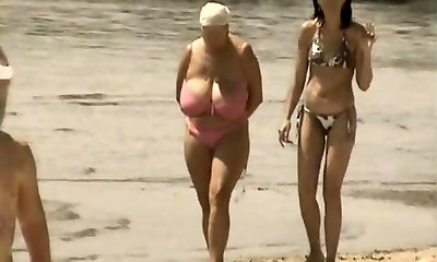Retro humungous tits mix on Russian beach