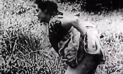 Rock-hard Romp in Green Meadow (1930s Vintage)
