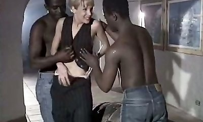 White tart wife Rebeca gives eager blowjob to a duo of big black studs