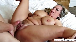 Mega huge-chested step-mother Amber Lynn Bach is torn up by horny 19 yo stepson