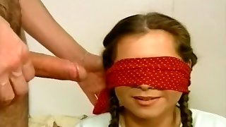 Blindfolded Tart Gobbles A Stiff Wang