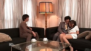Lewd spouse and his friend undress kinky wife Aoi Miyama and boink her well