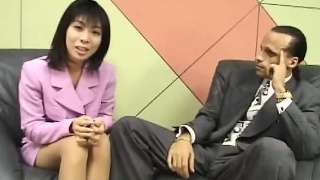 Diminutive Japanese reporter swallows cum for an interview