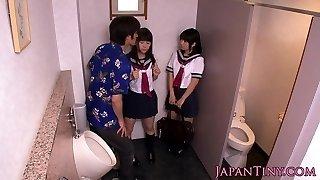Petite japanese schoolgirls fuck in bathroom