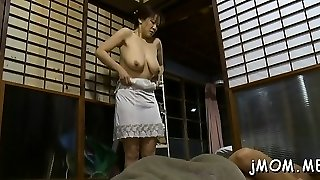 Hot bdsm action with older stunner giving head and using toys