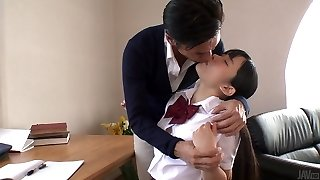 Japanese school cutie lures her tutor and sucks his delicious pink cigar in 69 posture